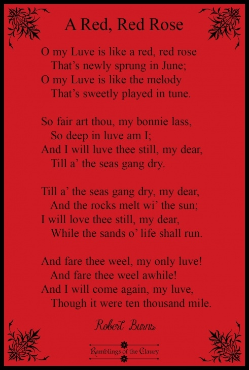 Best Poem My Love Is Like A Red Red Rose Pics371