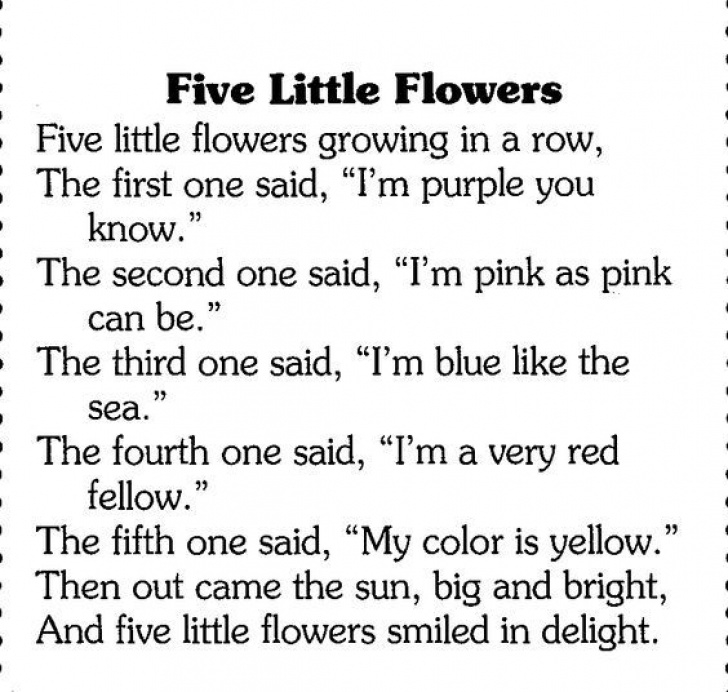 Motivational Poems About Flowers For Kindergarten Picture704