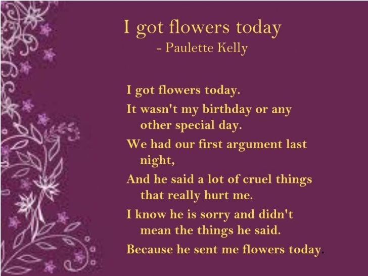 Outstanding I Got Flowers Today Poem By Paulette Kelly Pics541
